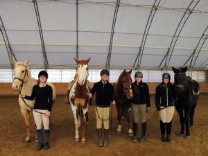 Group of girls with their horses at the Equine Discovery Center