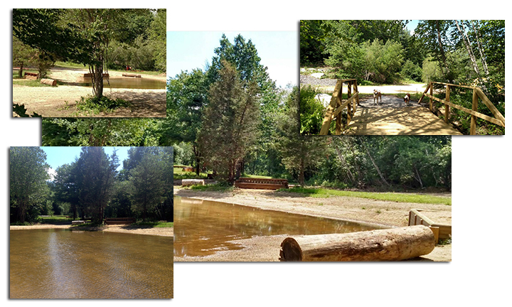 Collage of water complex at the EDC cross-country course.